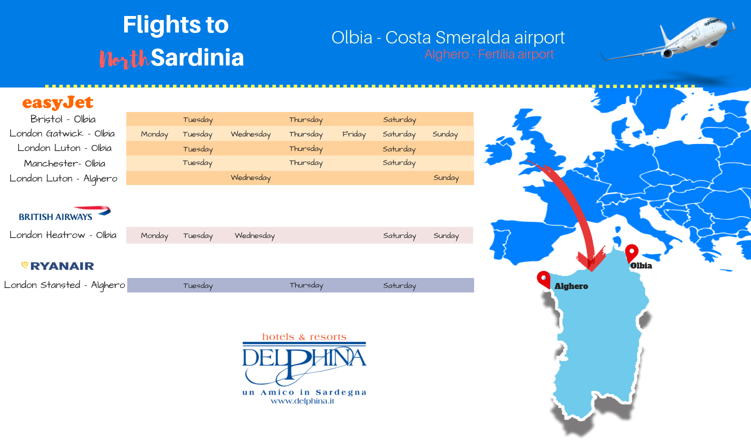 Flights from Uk to North Sardinia
